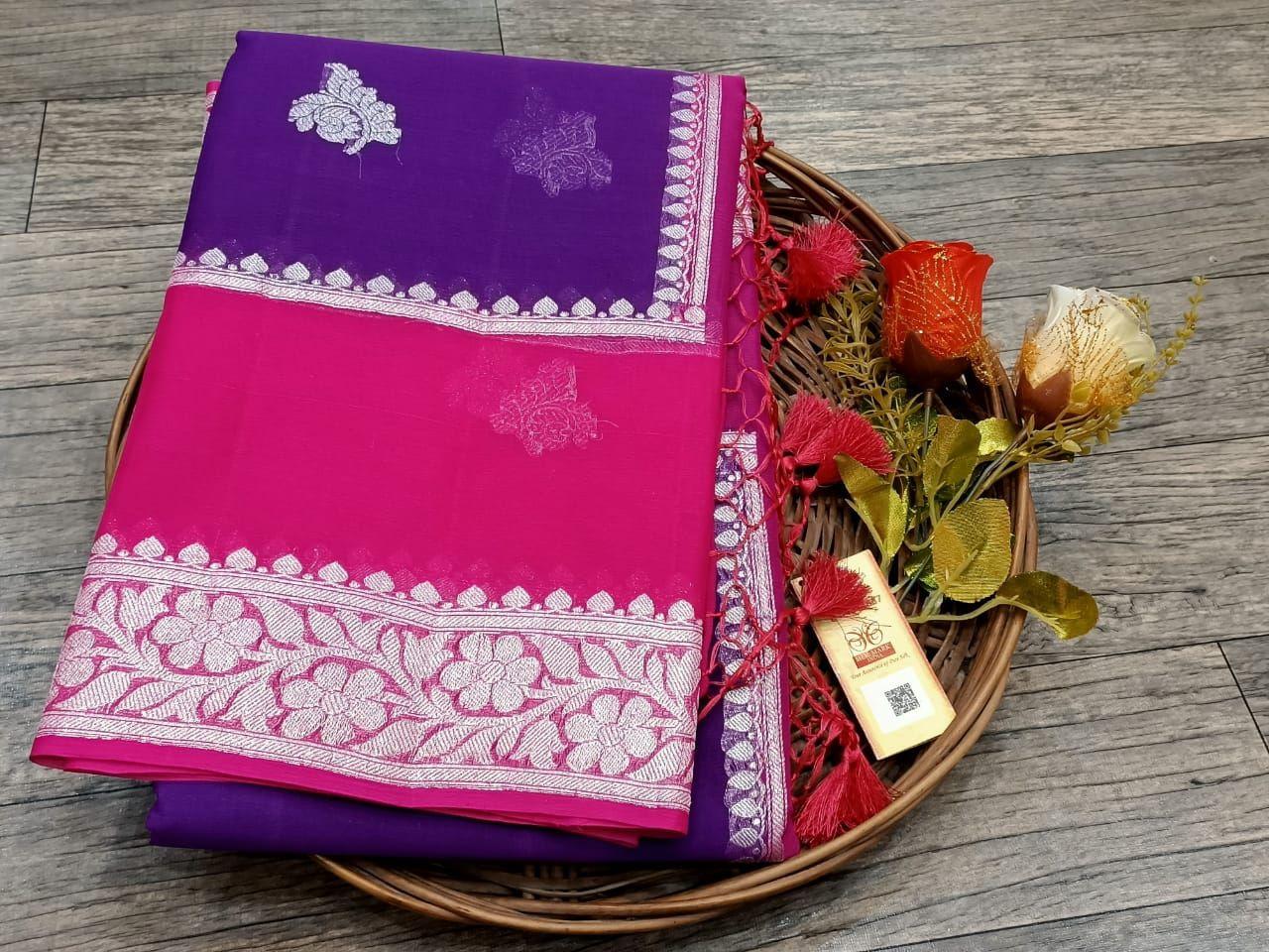 Violet and Pink Banarasi Saree