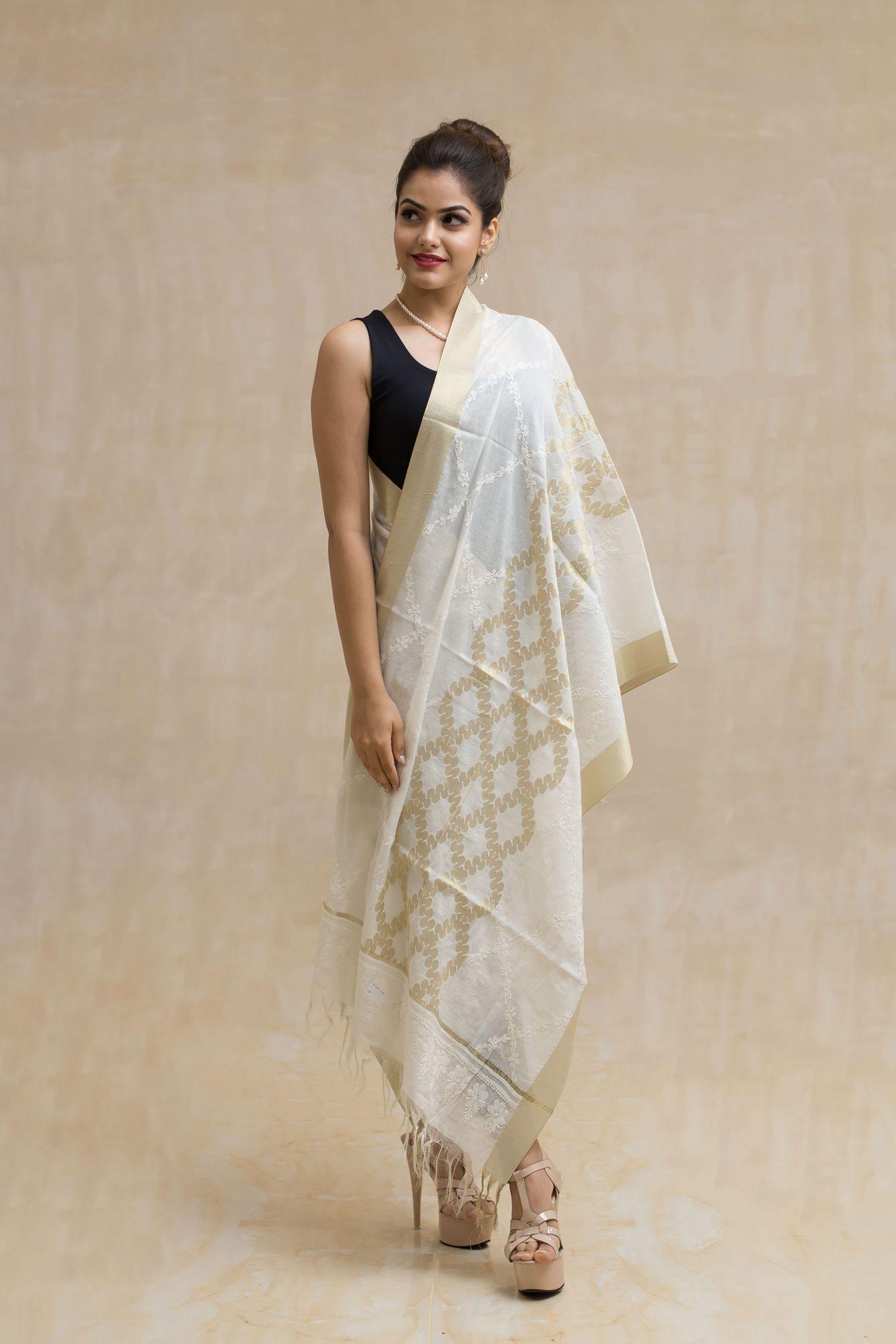 Refulgent White Handcrafted Chikan Banarasi All Over Dupatta