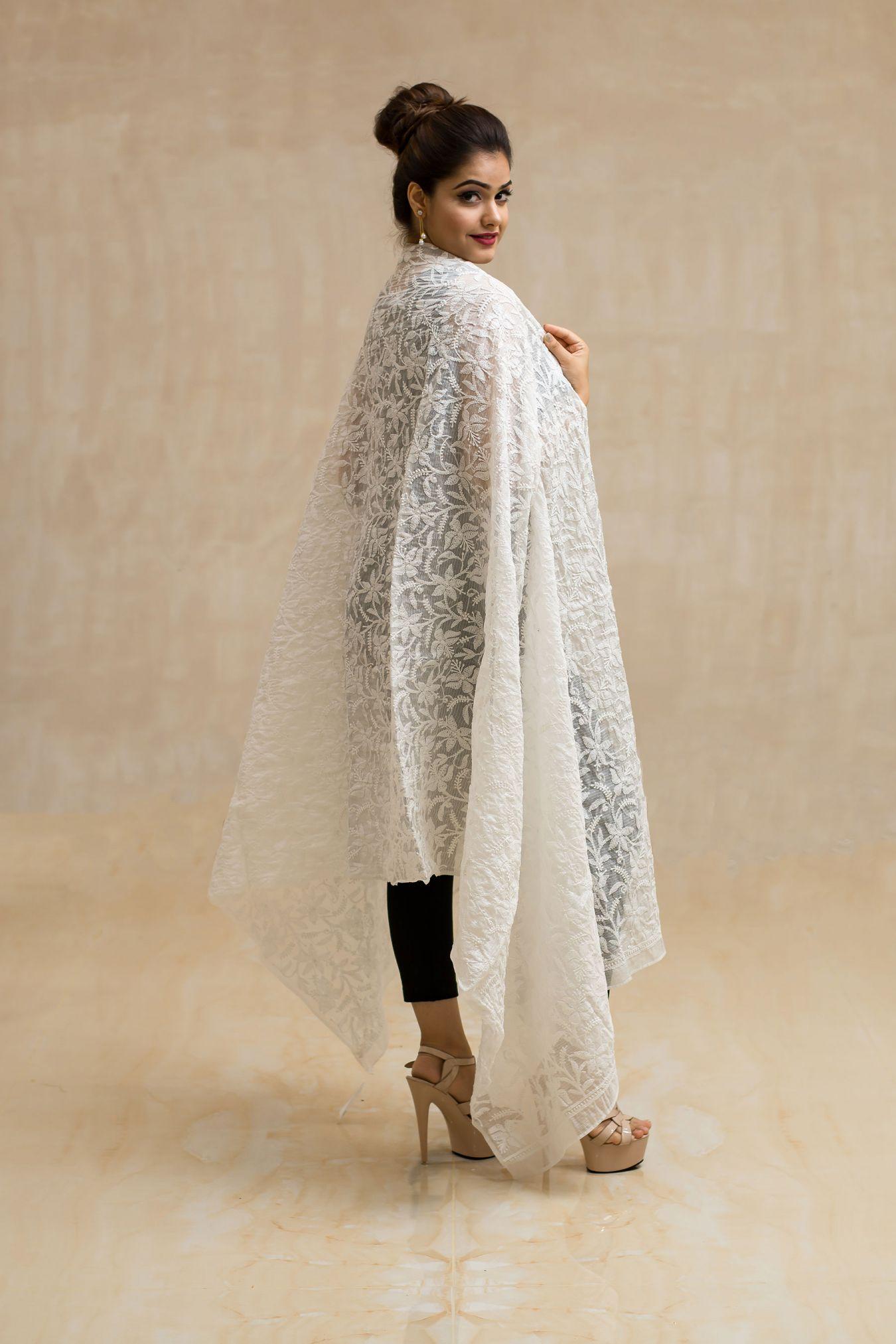 Radiant White Handcrafted Chikan Jaal Kota Doria Dupatta