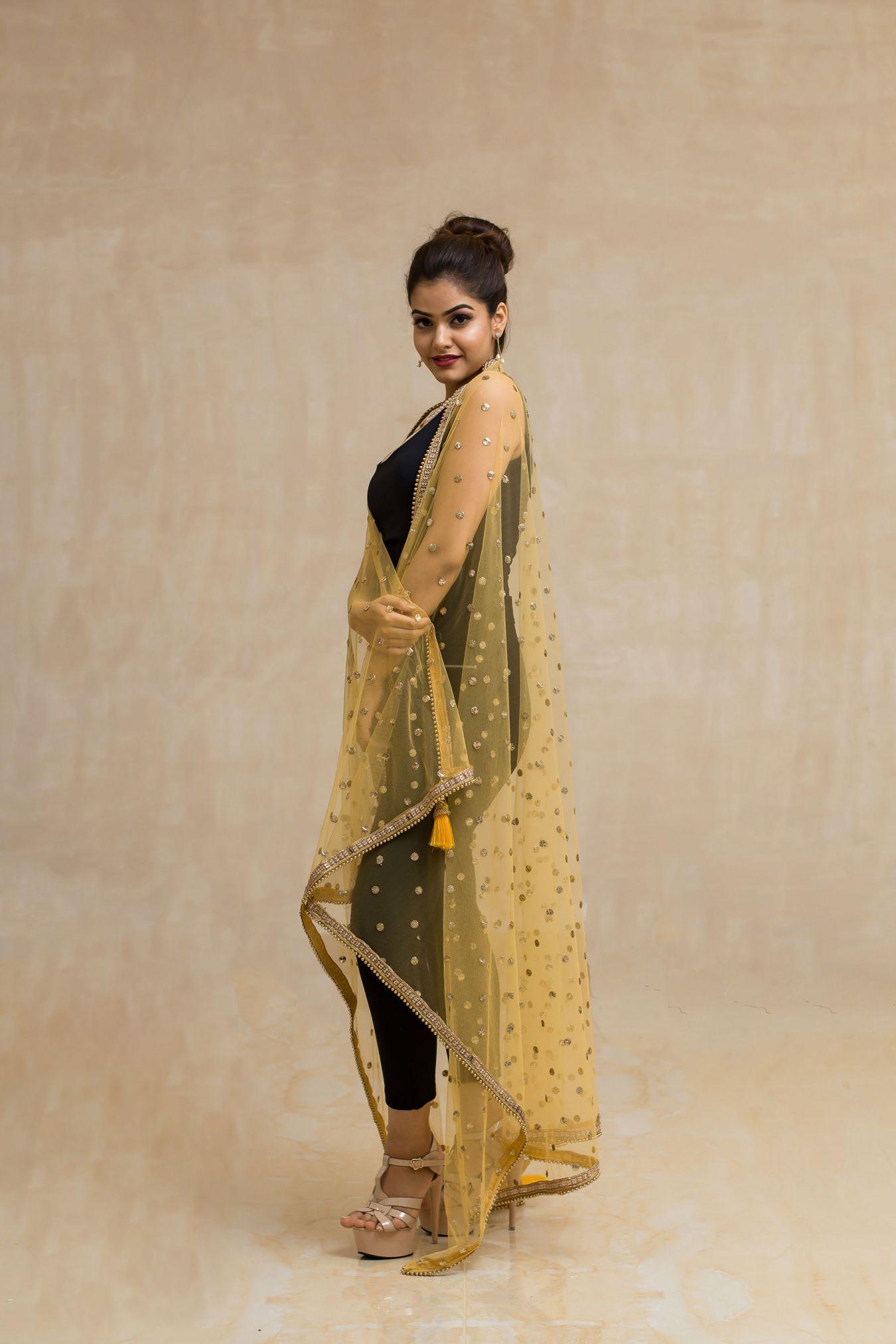 Pleasant Yellow Big Abla Mukaish Net Dupatta