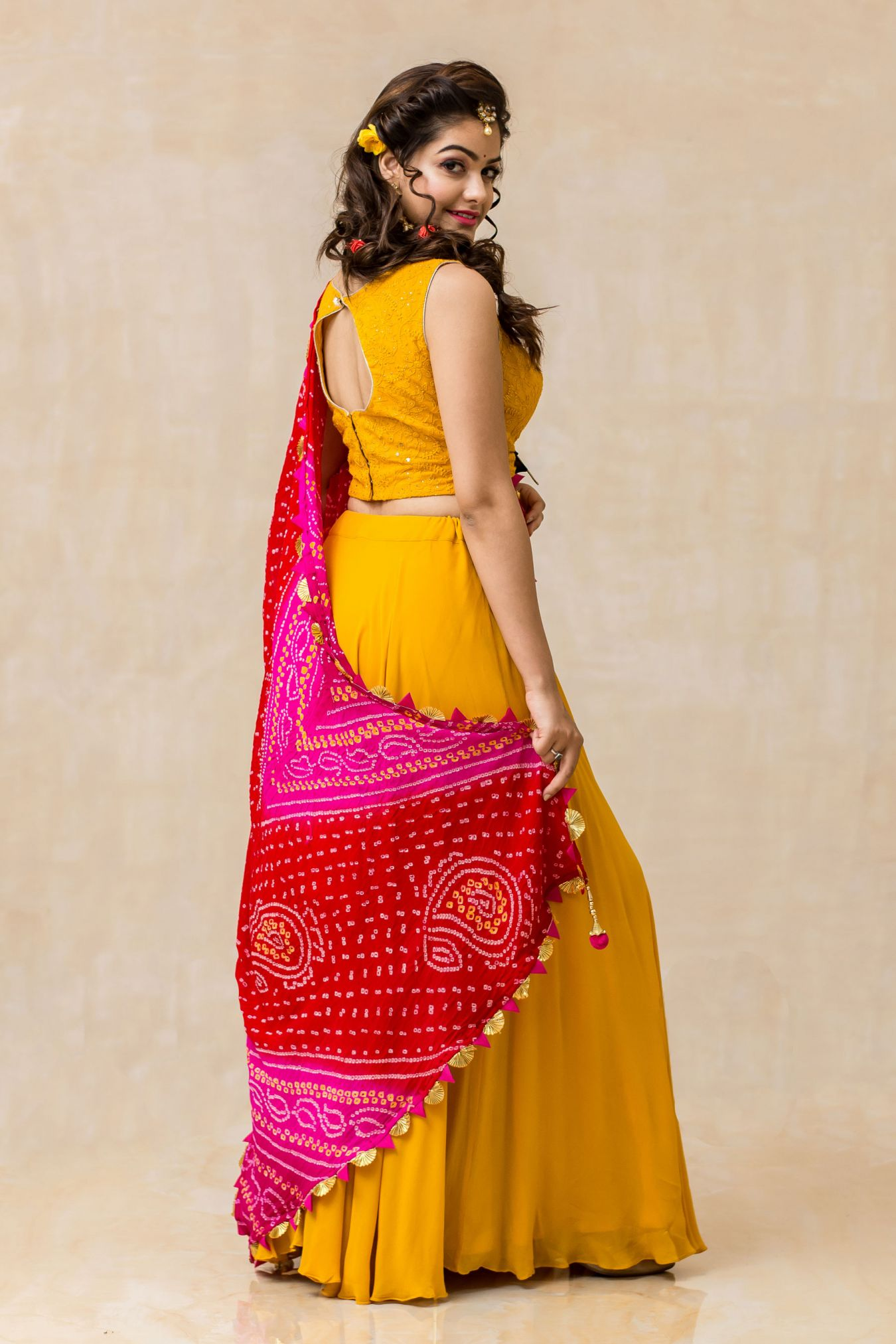 Ablaze Handcrafted Chikan Mukaish Georgette Skirt Top Set in Magnificent Mustard Yellow Hue